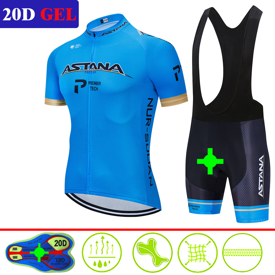 2020 ASTANA Cycling Jersey Pro Team Cycling Clothing Suits MTB Cycling Clothes Bib Shorts Set Castelliing Men Bike Ropa Ciclismo