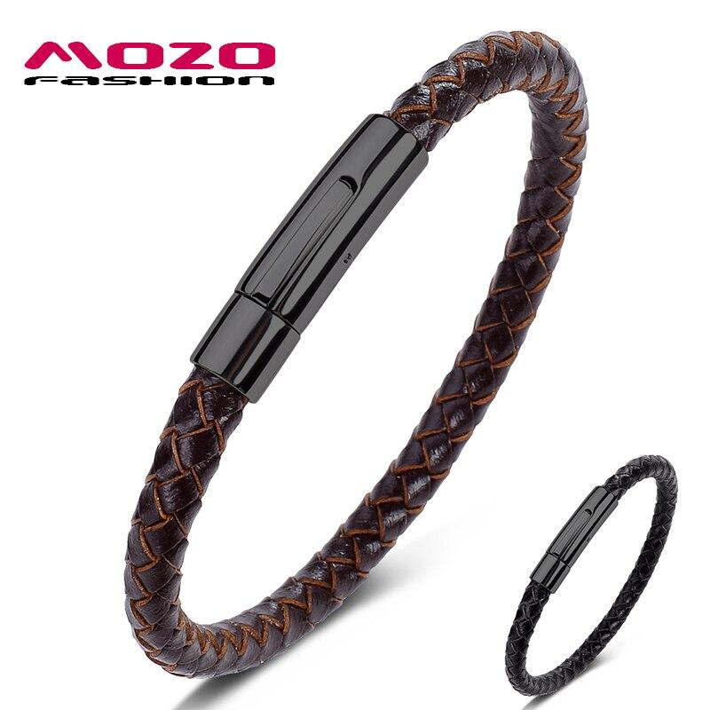 MOZO FASHION 2020 Classic Men Charm Bracelets Brown Genuine Leather Rope Braided Bracelet High Quality Punk Women Jewelry 601