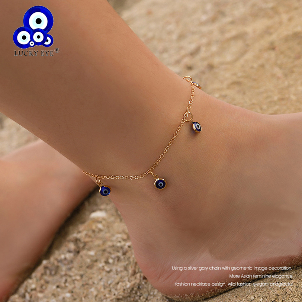 Lucky Eye Blue Turkish Evil Eye Anklet Gold Silver Color Foot Chain Ankle Bracelet Adjustable for Women Girls Jewelry LE494