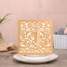 50pcs Gold Laser Cut Wedding Invitations Card Square Flower Greeting Customize Envelopes with Tassel Party Supplies