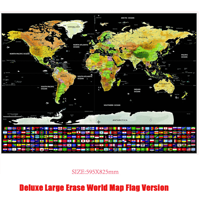 Deluxe Large Erase World Travel Map 82.5x59.4 Cm National Flag Scratchable Map Black Scatch Off Map Wall Sticker Decration