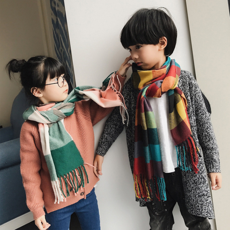 Autumn And Winter New Style Faux Cashmere Children Plaid Scarf Flexible Scarf Plaid Pattern Contrast Color Mixed Colors Shawl Gi