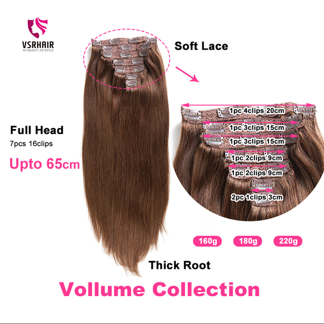 VSR 180g 200g 220g 24Inch Machine Remy Clip Hair Silky Double Drawn Thick Hair Bottom 7Pieces/Set Clip In Human Hair Extension