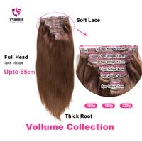 VSR 180g 200g 220g 24inch Machine Remy clip Hair Silky Double Drawn Thick Hair Bottom 7pcs/set Clip In Human Hair Extension