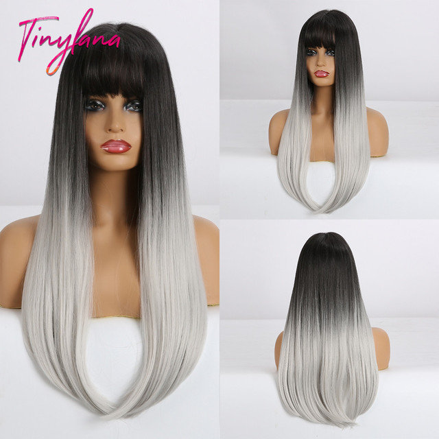 TINY LANA Long Colorful Straight Synthetic Wigs Black Ombre Brown with bangs for Black Women Heat Resistant Party&Cosplay Hair
