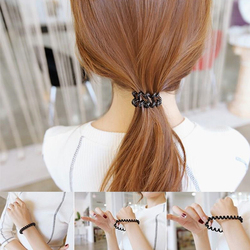 1 pièces couleur claire gomme téléphone fil élastique bandes de cheveux cravates anneaux en caoutchouc élastique pour queue de cheval Bracelets bandeaux cheveux accessoires