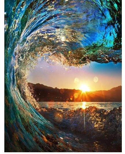Coloring By Numbers For Children Rio De Janeiro Wave Sunset - Adult Paint By Numbers Kits For Adults DIY Peinture A Numero
