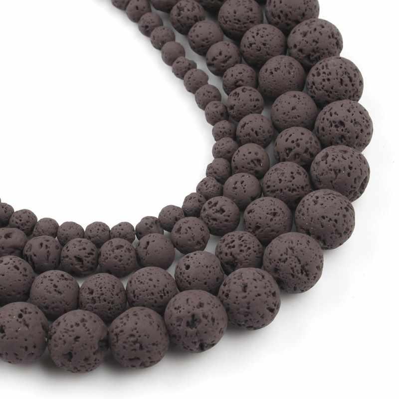 1 hebra/lote Natural de granos de piedra de Lava de roca de café 4/6/8/10mm redondo espaciador suelto para accesorios fabricación de joyas hecho a mano 15'