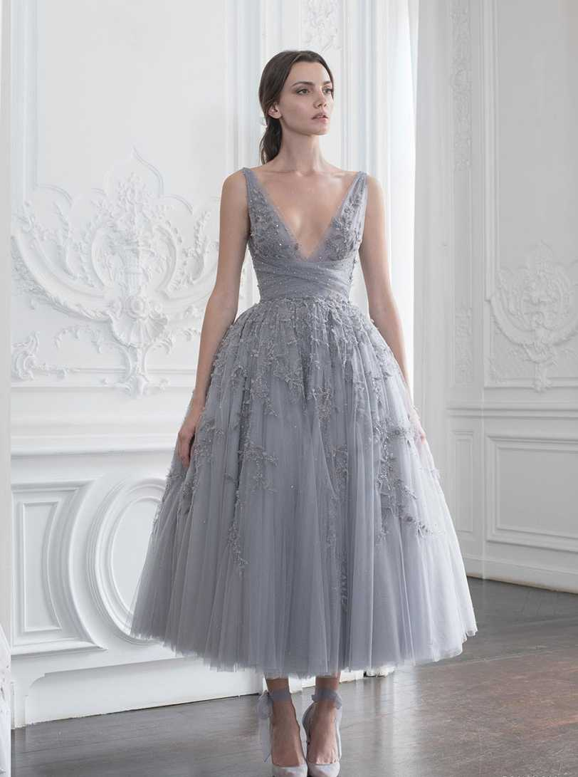 Silver Lace Tulle Tea Length Grey Wedding Dresses V Neck Beaded
