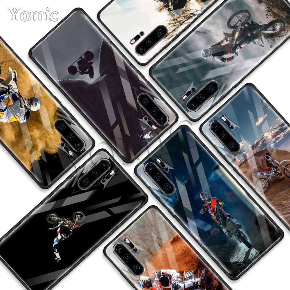 Motocross Cross Dirtbikes Tempered Glass Phone Case For Huawei P30 Pro P10 P20 Lite Mate 20 Lite Honor 20 Pro 8X Soft Edge Cover