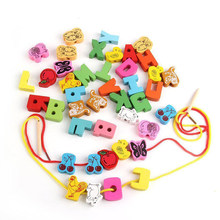 60pcs Wooden Beads Animals Stringing Game Blocks Toys Heart-Shape Box Educational Mixed Digit Fruit Toy for Children Gifts(China)
