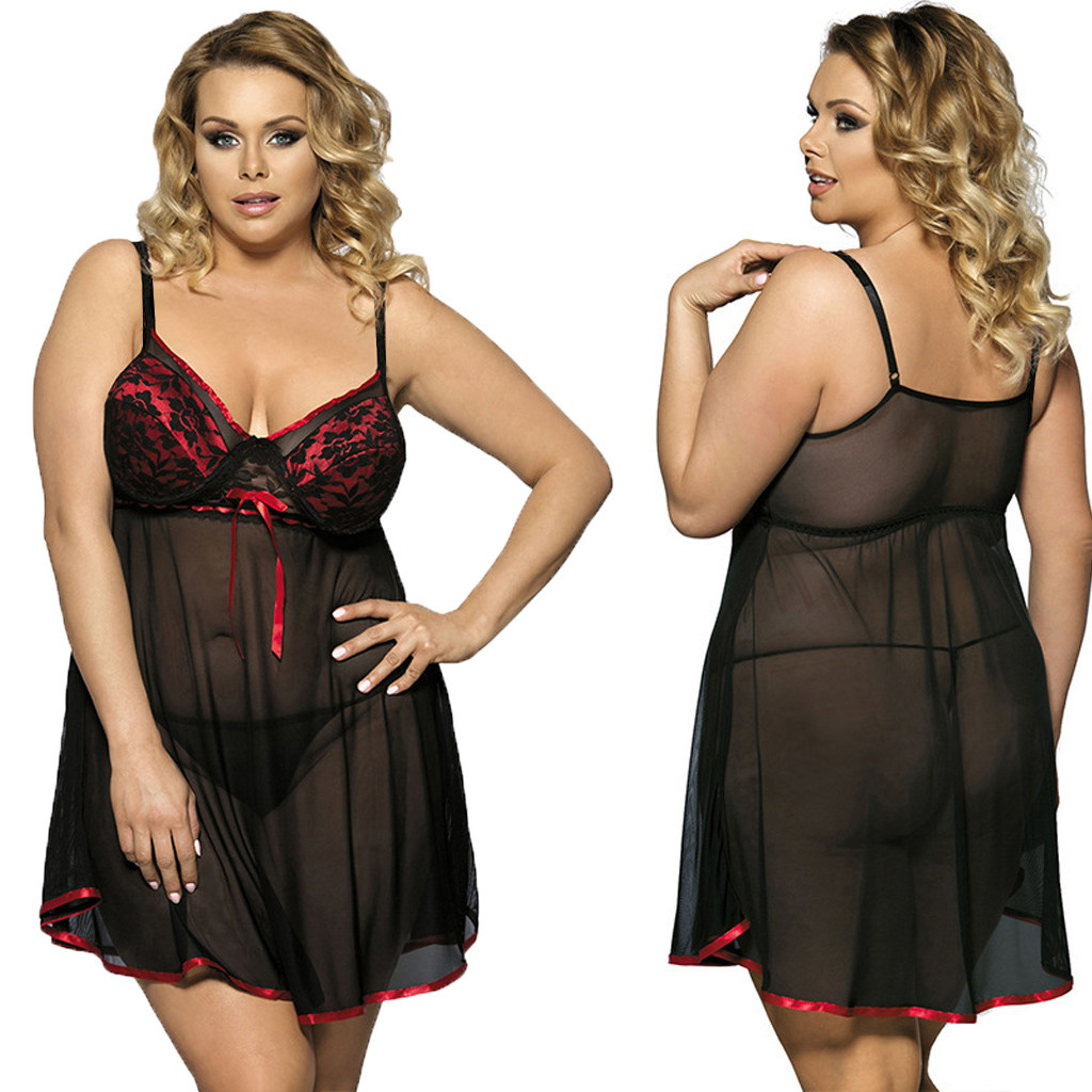 New S 6XL Plus Size lingerie femme sexy dentelle Sexy Womens Lace Bow Lingerie Nightwear Underwear Plus Size Sleepwear Dress C50|Lingerie Sets| - AliExpress