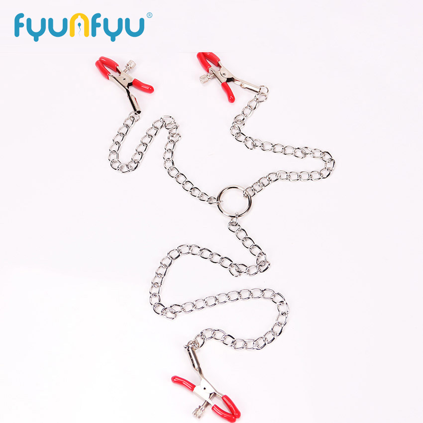 Woman Sexy Three Nipple Clamps Labia Breast Nipple Clamps With Chain Clips Slave Fetish Toys Sex Tool Adult Game