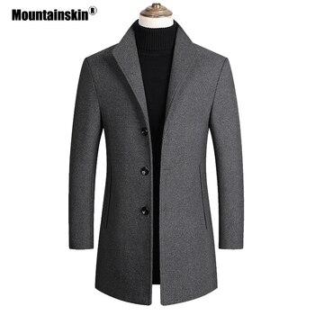 Mountainskin الرجال الصوف يمزج معاطف الخريف الشتاء جديد بلون عالية الجودة الرجال الصوف سترة ماركة الملابس الفاخرة SA837