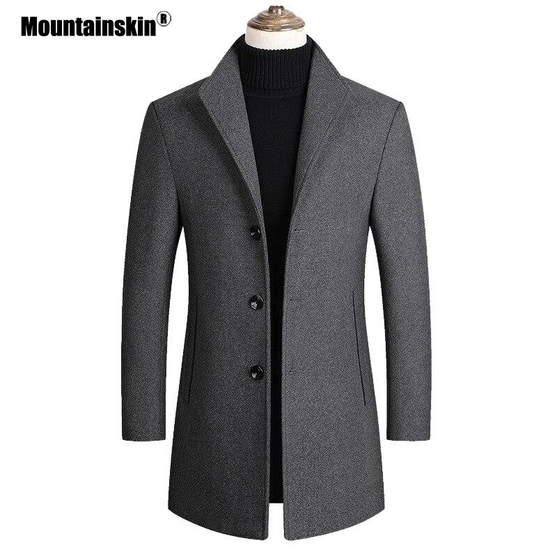 Mountainskin Männer Wolle Blends Mäntel Herbst Winter Neue Einfarbig Hohe Qualität männer Wolle Jacke Luxuriöse Marke Kleidung SA837
