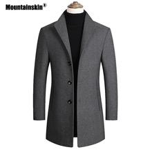 Mountainskin wełniane dla mężczyzn mieszanki płaszcze jesienno-zimowa nowa jednokolorowa wysokiej jakości męska kurtka z wełny luksusowa marka odzież SA837 tanie tanio Pełna Stałe Pojedyncze piersi Skręcić w dół kołnierz REGULAR NONE Poliester Konwencjonalne COTTON Wełna mieszanki