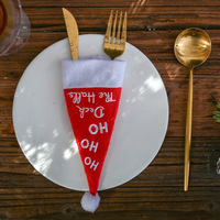 50pcs Christmas Wedding Party Table Decoration Small Hat Knife and Fork Cover Lantern Clover Elf Hat Wine Bottle Cover wholesale