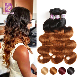 Image 1 - 1/3/4Pcs Ombre Bundles 1B/30 Remy Body Wave Bundles Brazilian Hair Weave Bundles Colored Brown Human Hair Extensions Racily Hair