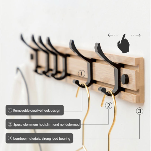 Nordic Fashion Style Bedroom Furniture Coat Rack Clothes Hanger Hooks Living Room Closet Bamboo Hat Racks Coat Hanger Wall Hook 1
