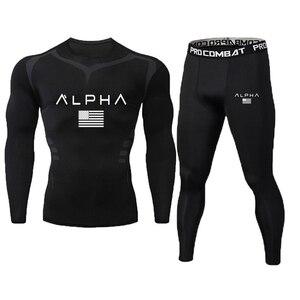 Brand 2pcs / sets men suit rashguard male kit MMA compression clothing male long-sleeved t-shirt + leggings tracksuit men(China)