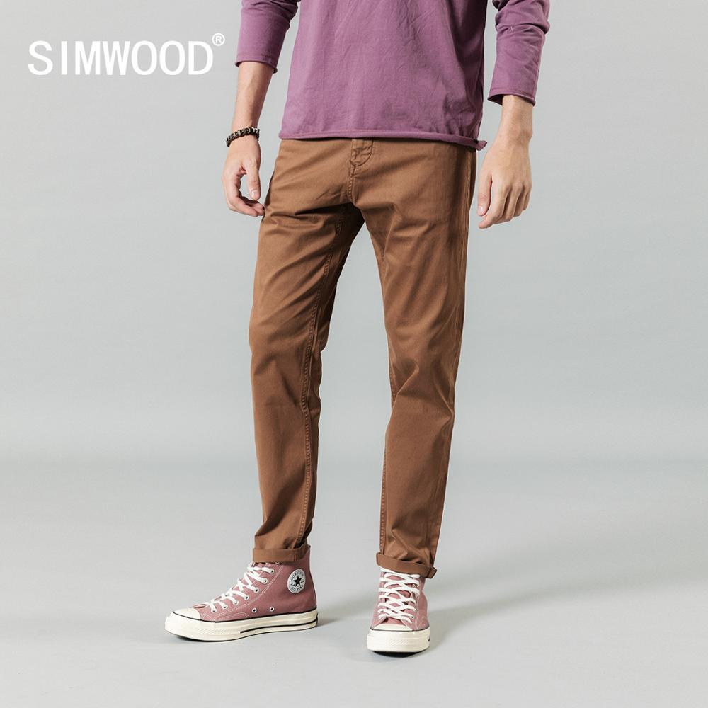 SIMWOOD 2020 Spring Winter Pants Men Causal High Quality Vintage Washed High Quality Brand Clothing Trousers 190453