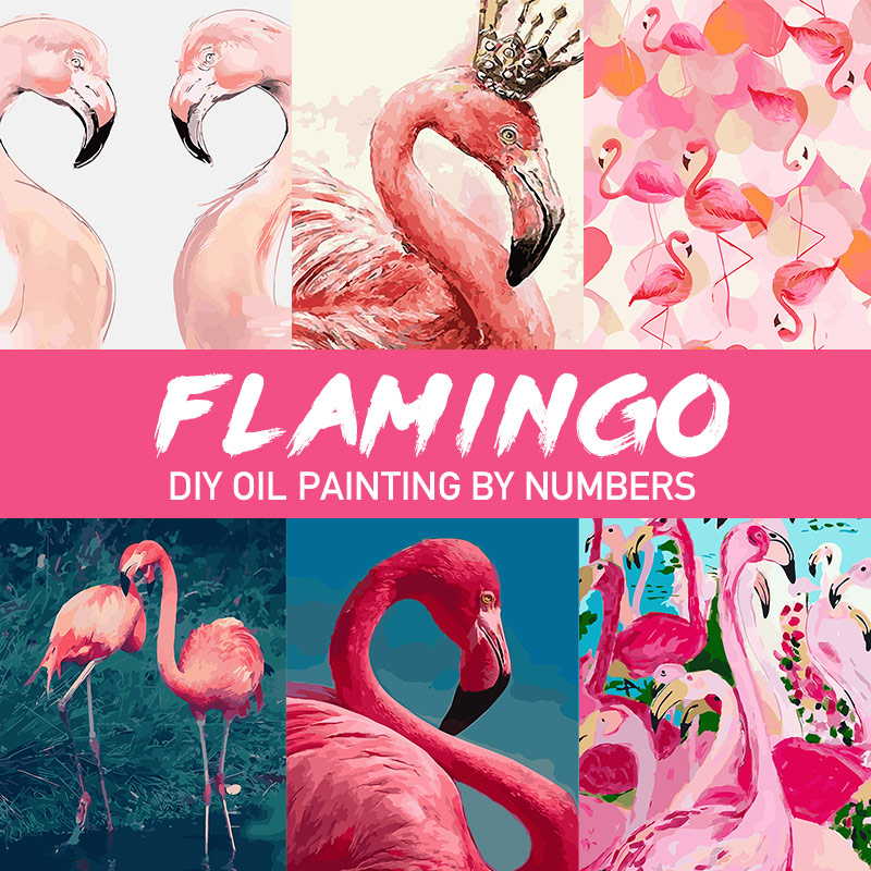 Oil Pictures Painting By Numbers Adults DIY Painting Pink Flamingo Canvas Coloring By Numbers Home Decoration Ins 60x75cm