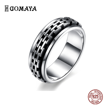 GOMAYA Real 925 Sterling Silver Rings Fashion Gothic Vintage Rock Punk Cocktail Finger Fine Jewelry Gift Unisex Wholesale