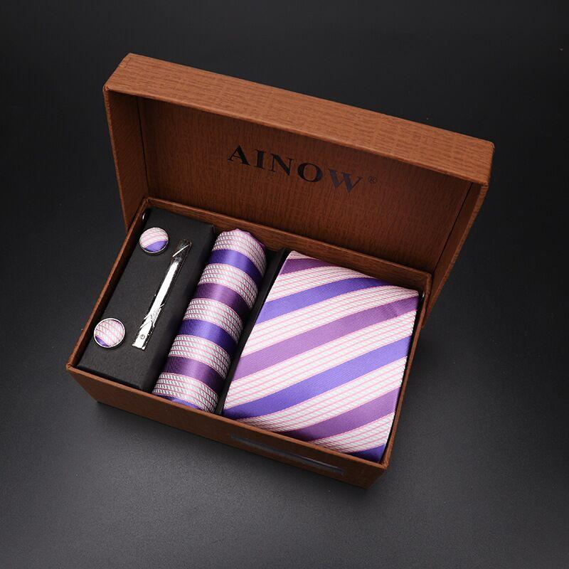 Набор галстуков 4 шт. мужской цветочный галстук для шеи клетчатый галстук подарок свадебный красный полосатый 8 см темно-синий жаккардовый тканый черный однотонный Камуфляжный ящик - Цвет: NO box 14