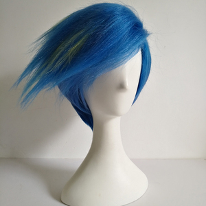 Image 3 - Galo Thymos Wig PROMARE Burning Rescue Cosplay Wig Short Straight Blue Heat Resistant Synthetic Hair Anime Wigs + Wig Cap