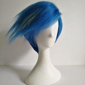 Image 3 - Galo Thymos peruka PROMARE Burning Rescue peruka do cosplay krótki prosto niebieski żaroodporne włosy syntetyczne Anime peruki + czapka z peruką