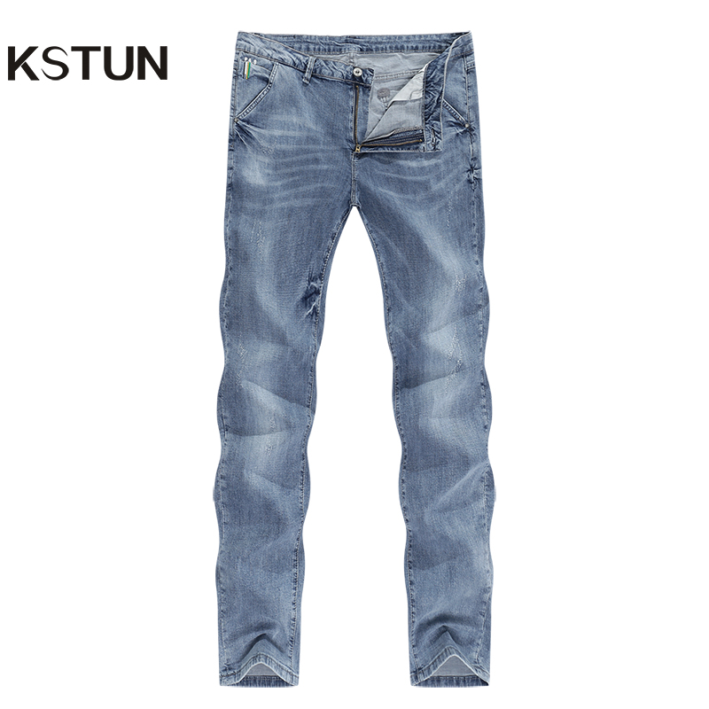 KSTUN Mens Jeans Brand Elastic Retro Blue 2020 Summer Ultrathin Business Casual Slim Straight Man Long Trousers Cowboys Hombre