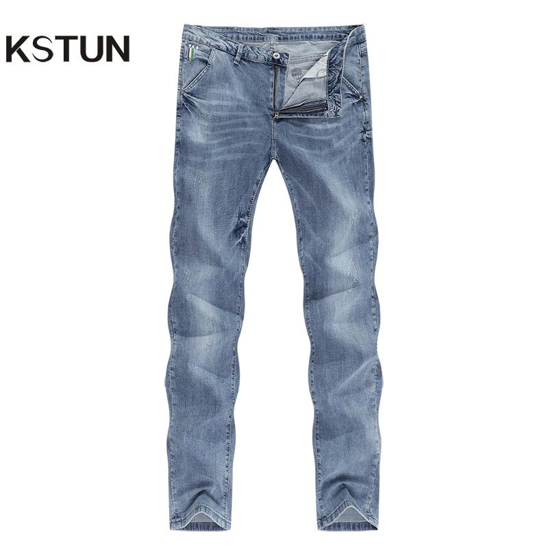 KSTUN Mens Jeans Brand Elastic Retro Blue 2020 Summer Ultrathin Business Casual Slim Straight Man Long Trousers Cowboys Hombre