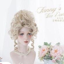 Винтажный Женский Благородный парик светлой леди, Стильный Высокий винтажный Ренессанс, Дамская духматная Лолита, королева, набор золотист...