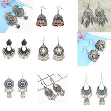 2019 TopHanqi Indian Jhumka Gypsy Jewelry Sliver Color Boho Vintage Ethnic Womens Earrings Hollow Water Drop Earrings For Women