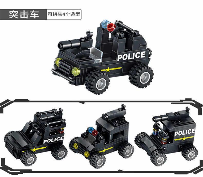 8-in-3 полиции SWAT серии строительные блоки для Грузовиков Комплекты робот истребитель команда военный корабль модель меха игрушки для детей legoinglys