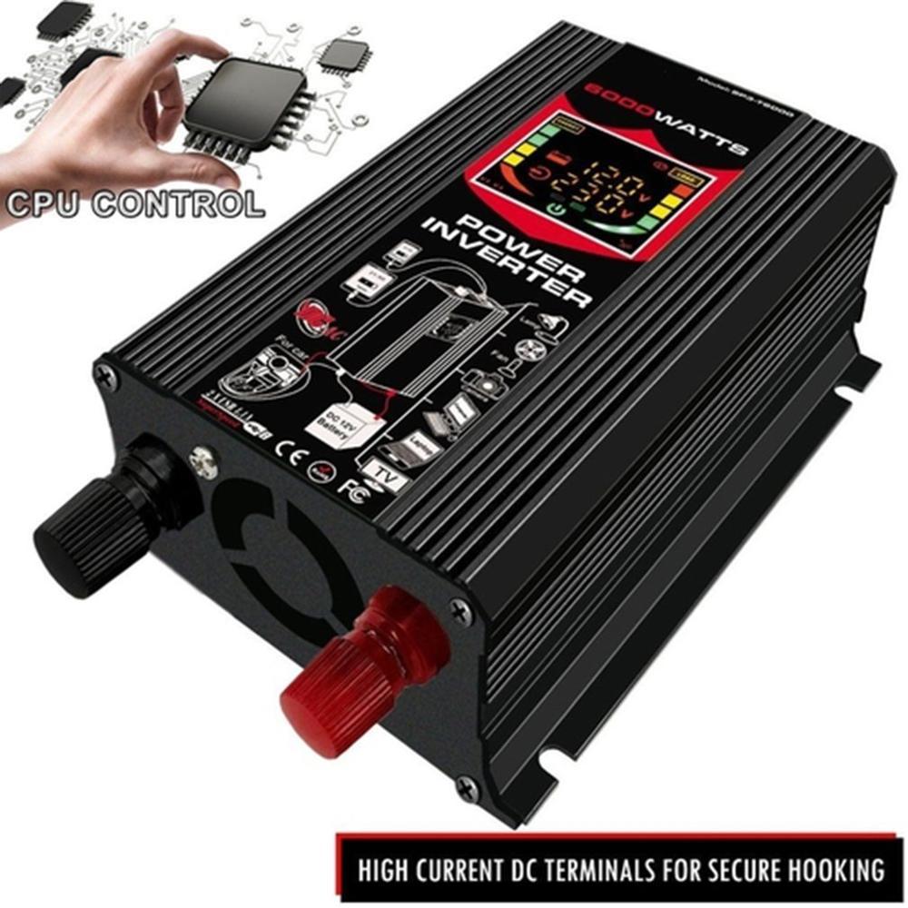 Новый набор для превращения автомобиля инвертор светодиодный Дисплей Dual USB Черный 6000W 4000W 3000W инвертор 12V-220V множественное предохранение