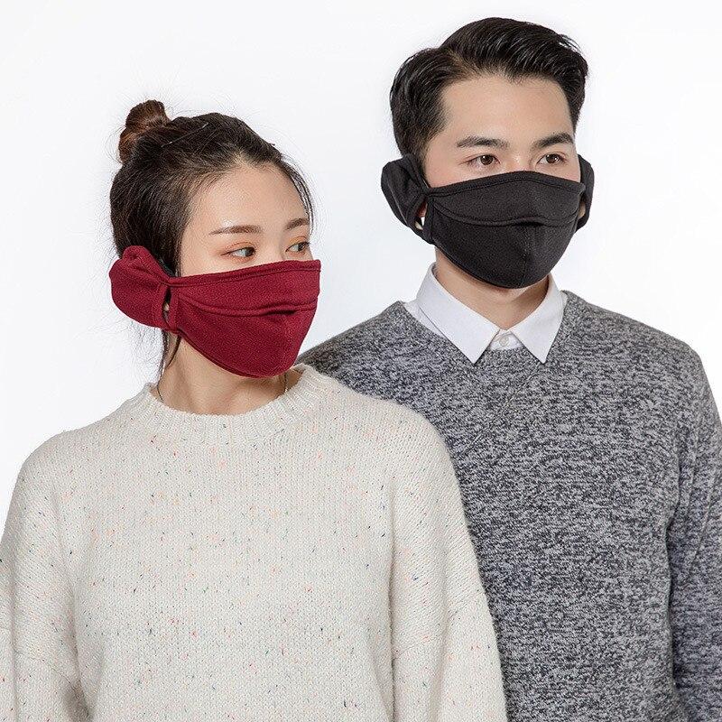 Winter Warm Unisex Outdoor Riding Cotton Velvet Masks Men Women Windproof Earmuffs Mouth-muffle Warmer Unisex Women Men Sports