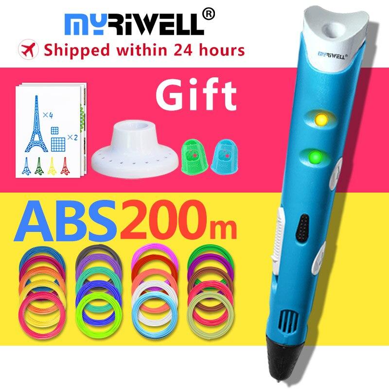 myriwell 3d pen +20 Colour * 10m ABS filament(200m),3 d pen 3d model,Creative 3d printing pen,Best Gift for Kids creative,pen-3d