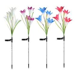 4 kopf LED Solar Powered Lily Blume Licht RGB Farbwechsel Outdoor Garten Licht Wasserdicht Landschaft Lampe Für Hof Dekoration