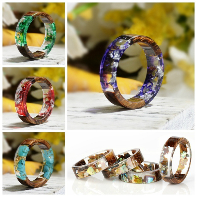 Epoxy-Rings Wood Resin Jewelry Accesory Vintage Women Clear 5-Colors Dried Flower Handmade