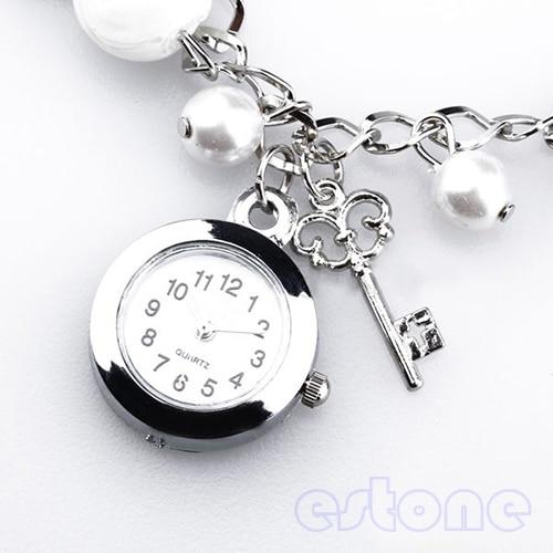 Women Girl Lady's Popular Fashion Quartz Charms Faux Pearl Bracelet Wrist Watch