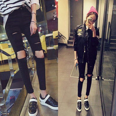 2018 Spring And Autumn Summer Knee Large With Holes Imitation Jeans Women's Skinny Pencil Pants Tight-Fit Capri Beggar Pants