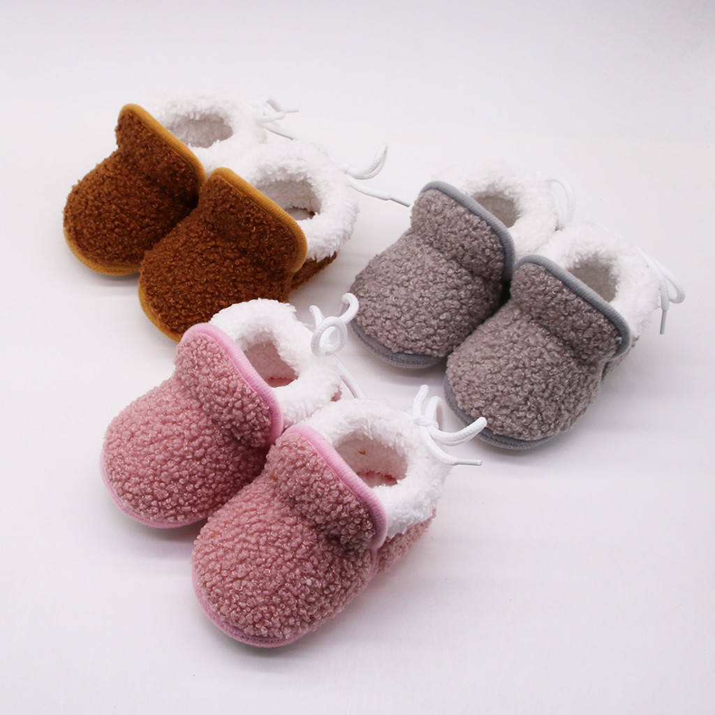 Autumn Winter Infant Newborn Baby Girls Cashmere Plush Winter Boots Bandage Warm Shoes Soft Sole  Warm Baby Boots сапоги