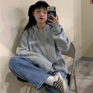 Image 4 - Hoodies ผู้หญิงสไตล์เกาหลีนักเรียนหลวมซิปขนาดใหญ่ Ulzzang ทั้งหมดตรงกับแฟชั่นพิมพ์ Zip Up สตรีเสื้อ