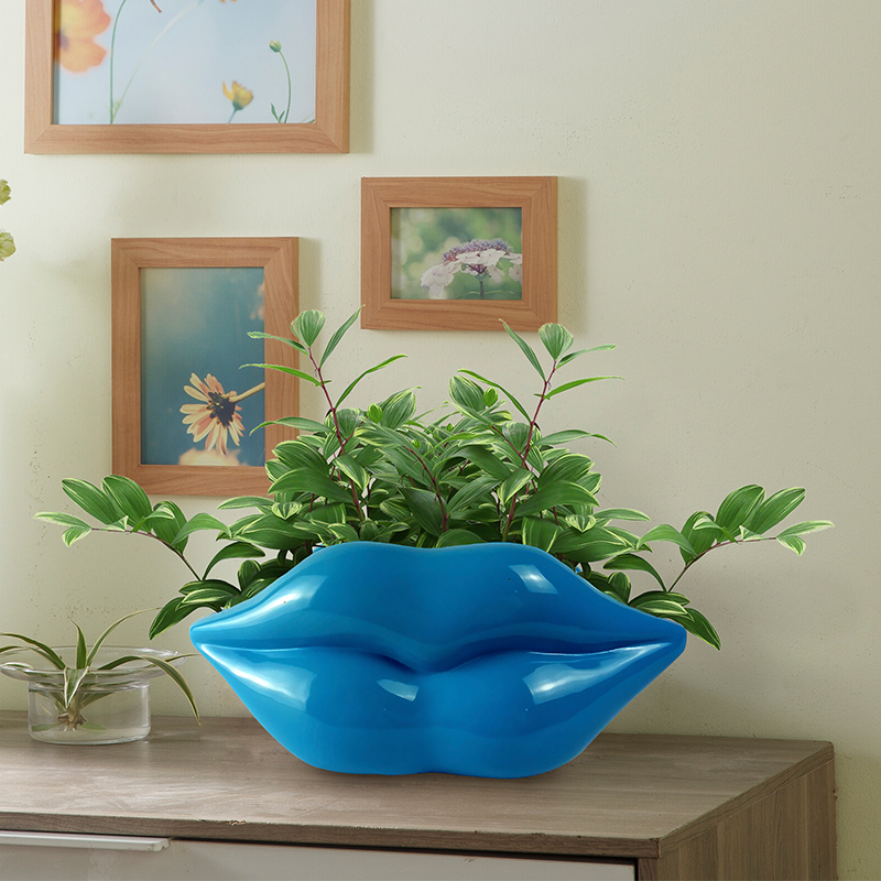 modern simple Personality vase originality house and home Lips flowerpot The sitting room place TV bench resin craftwork image