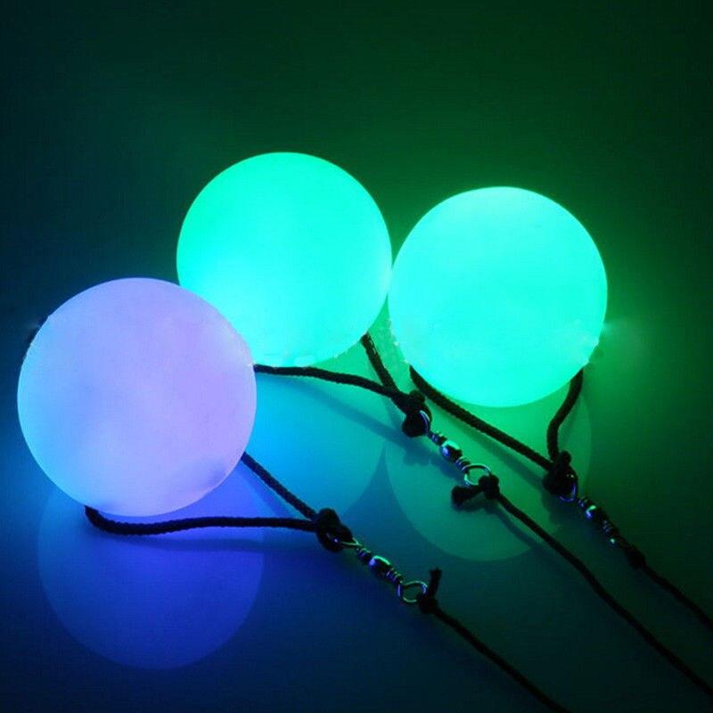 Светодиодный разноцветный светящийся POI шары для кручения света для профессионального танца живота ручная Опора вечерние Свадебная гирлянда водонепроницаемый