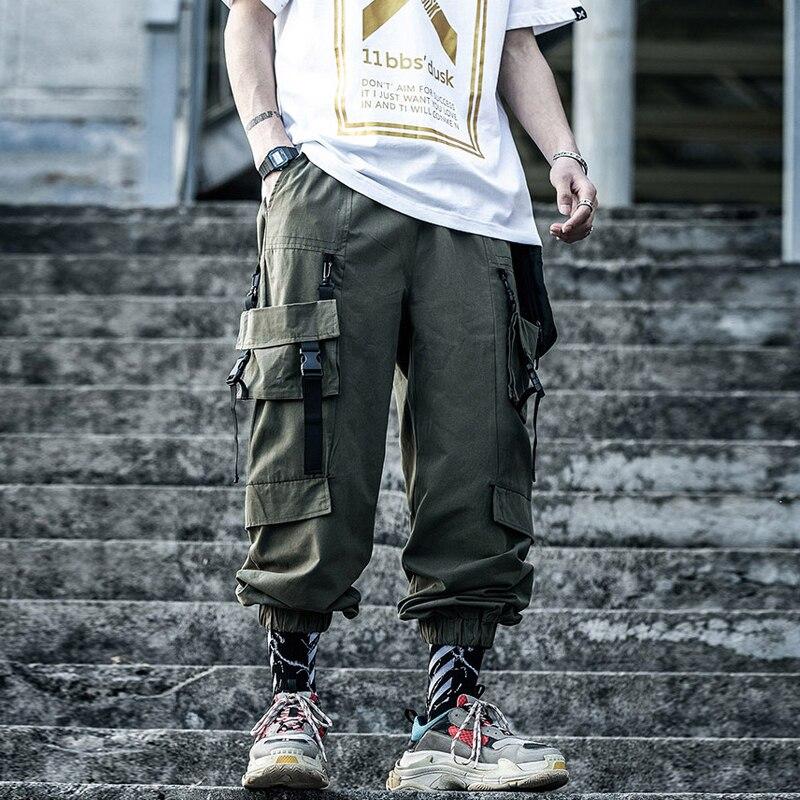 11 BYBB'S DARK Hip Hop Cargo Tactical Pants Men Streetwear Multi-pocket Loose Pant Male Harajuku Joggers Trousers Ribbon XN44