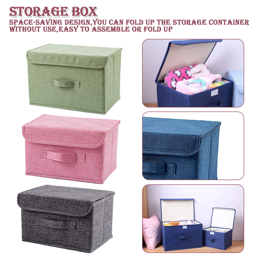 Large Cotton linen Fabric Folding Storage Box Foldable Bins Toys Organizer With Lids And Handles Storage Basket Laundry Basket