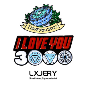 LXJERY Iron Man Enamel Pin Badge On Backpack Brooch Pins For Clothes Marvel Super Hero Broche I Love You Three Thousand Times
