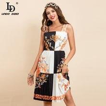 LD LINDA DELLA New 2021 Fashion Runway Summer Sexy Spaghetti Strap Dress abito da donna Vintage con stampa floreale a fiori
